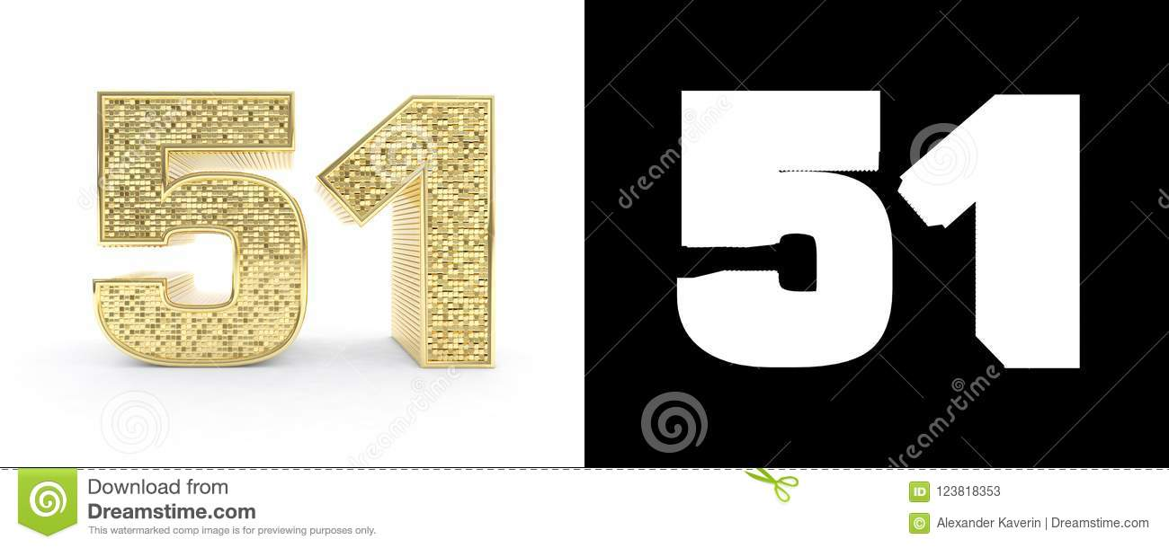 Golden Number Fifty One Number 51 On White Background With