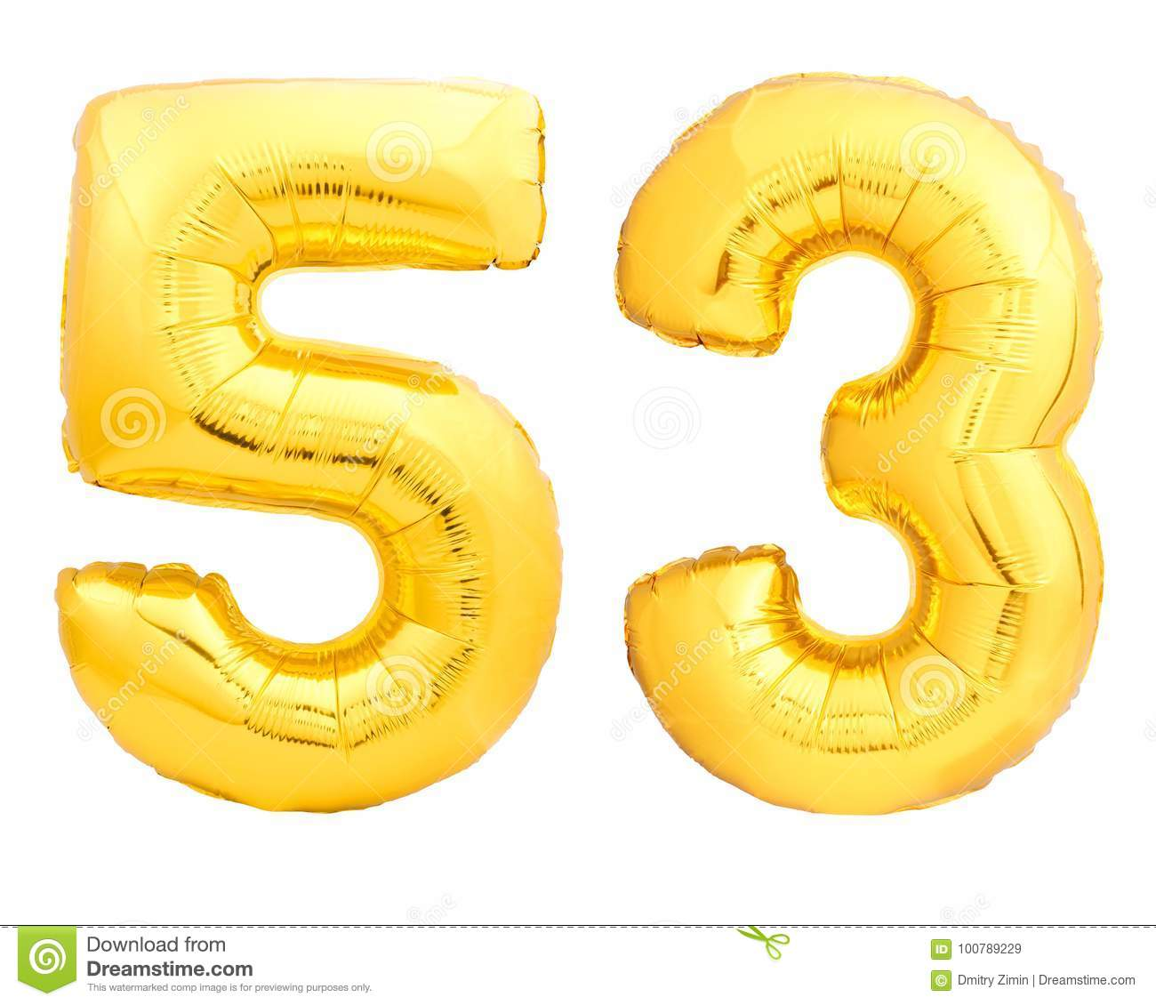 Golden Number 53 Fifty Three Made Of Inflatable Balloon