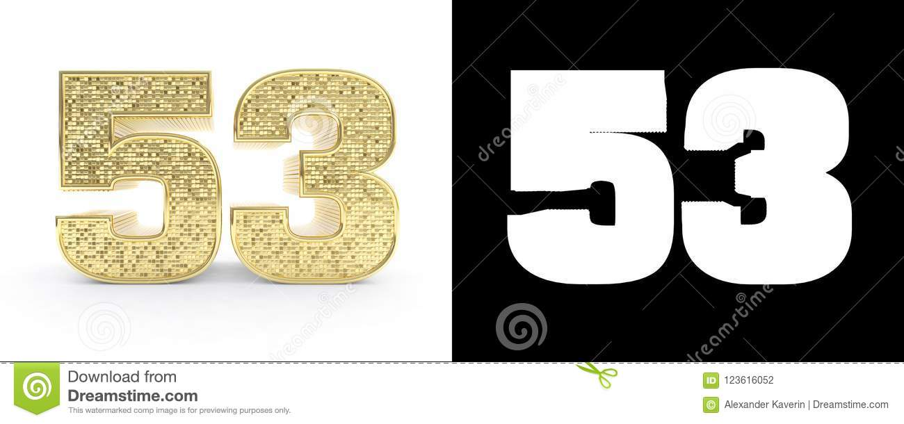 Golden Number Fifty Three Number 53 On White Background
