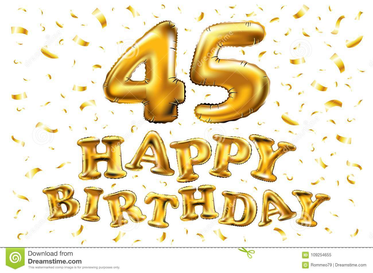 Golden Number 45 Forty Five Metallic Balloon Party Decoration Balloons Anniversary Sign For