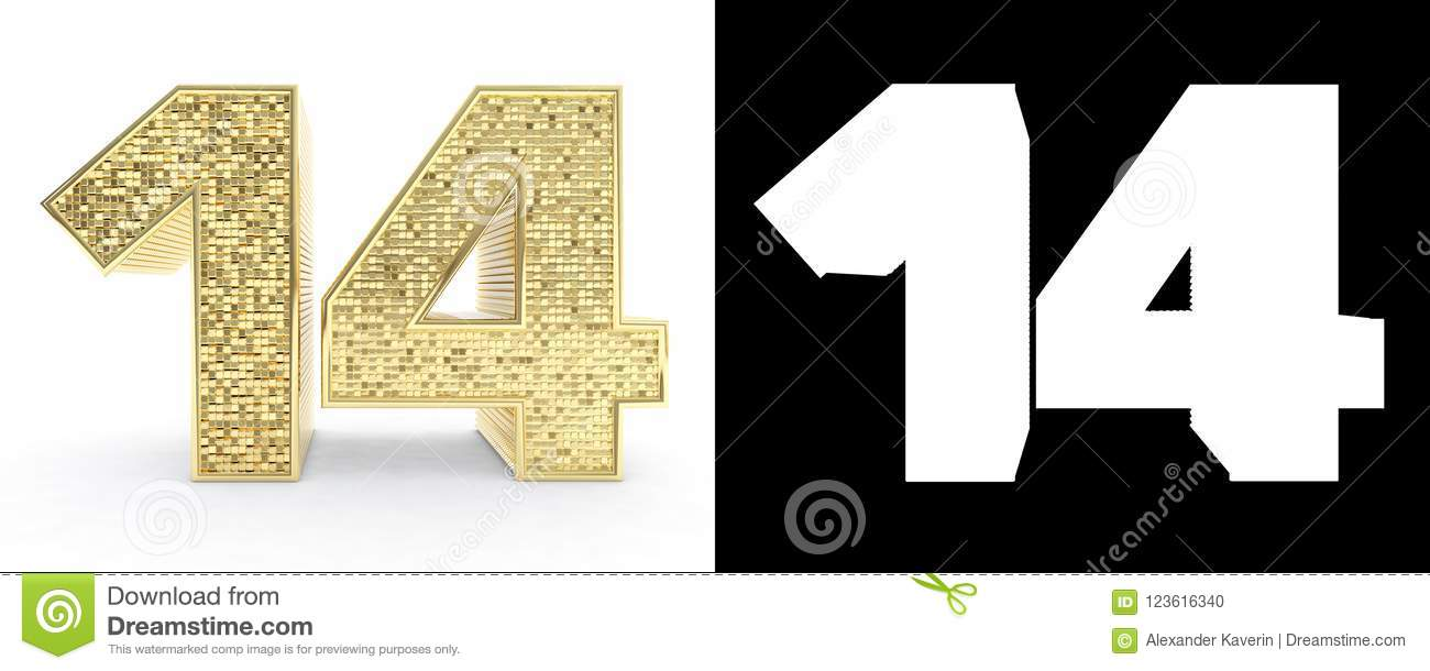 Golden Number Fourteen Number 14 On White Background With