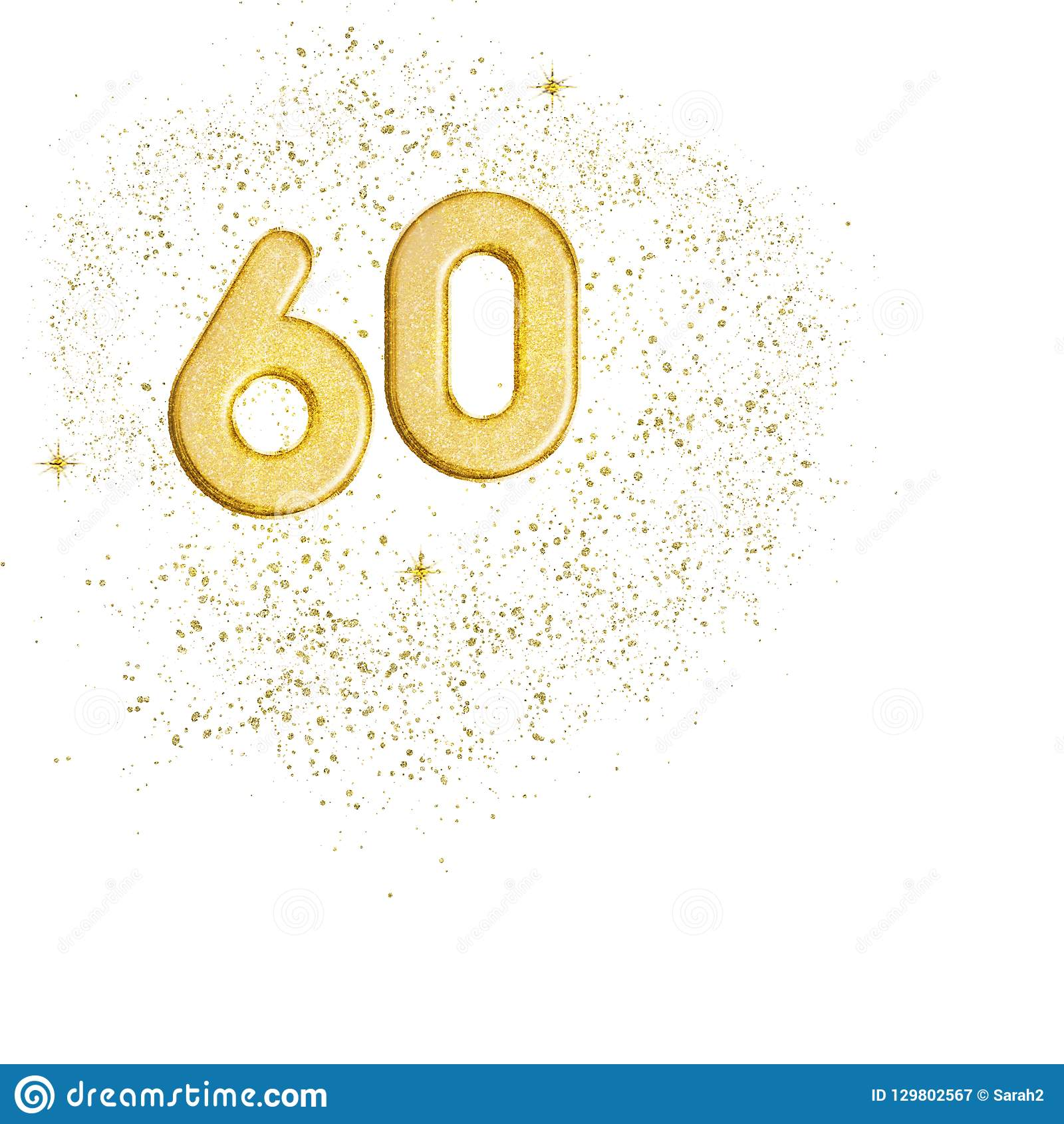 Golden number 60, sixty numbers isolated on white background. Ideal sixtieth wedding anniversary or birthday. Glittery.
