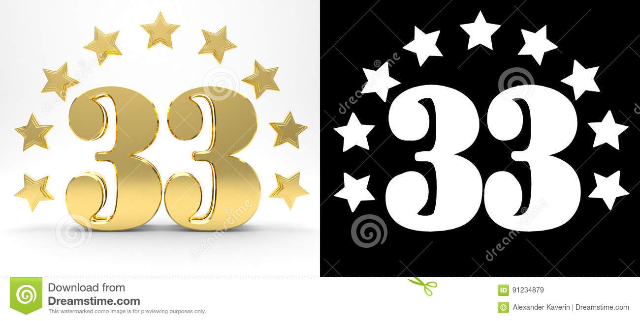Number 33 free picture of the number thirty three - Golden Number Thirty Three On White Background With Drop Shadow And Alpha Channel Decorated With