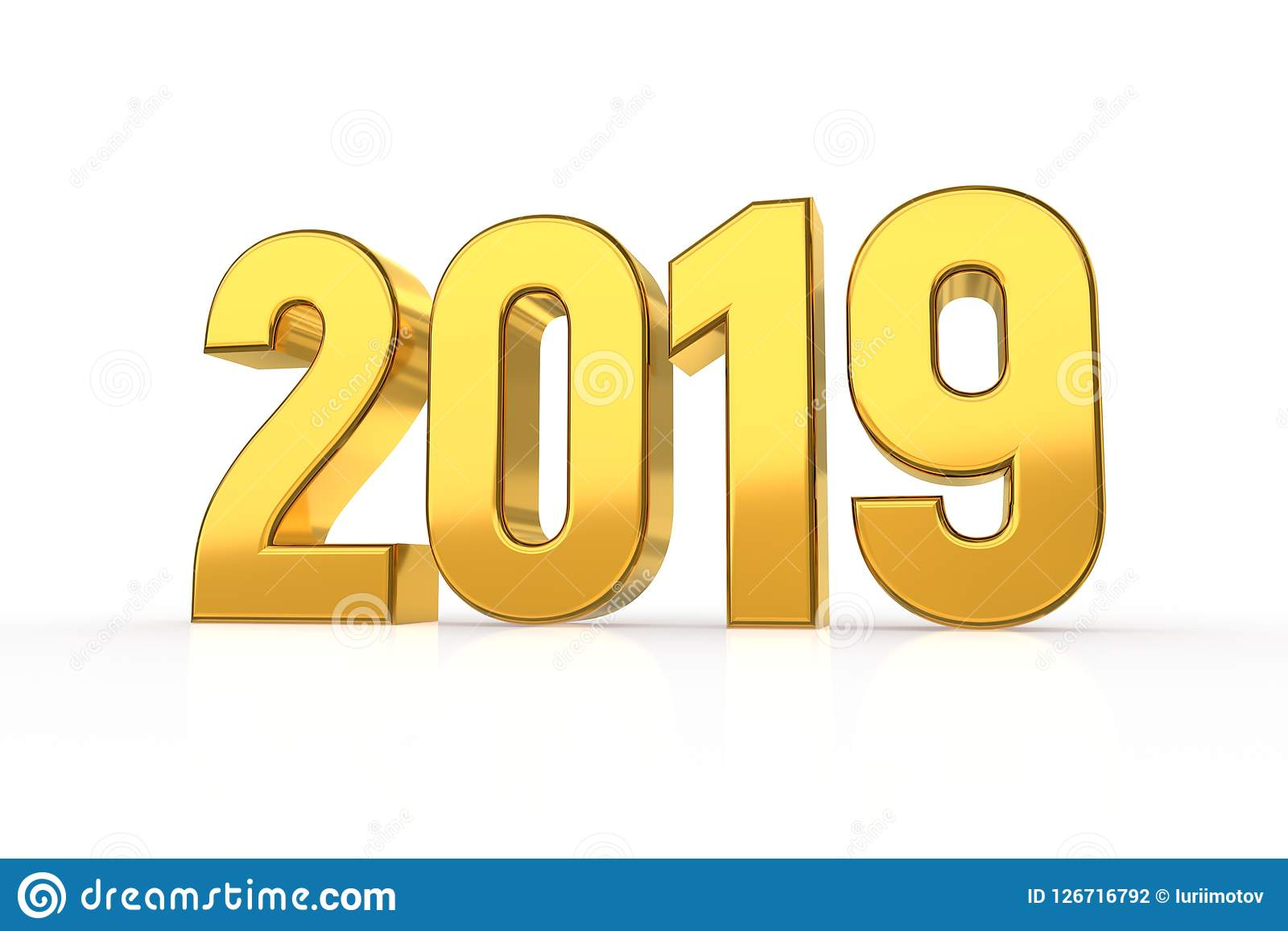 2019 golden numbers isolated on white background happy new year 2019 3d illustration