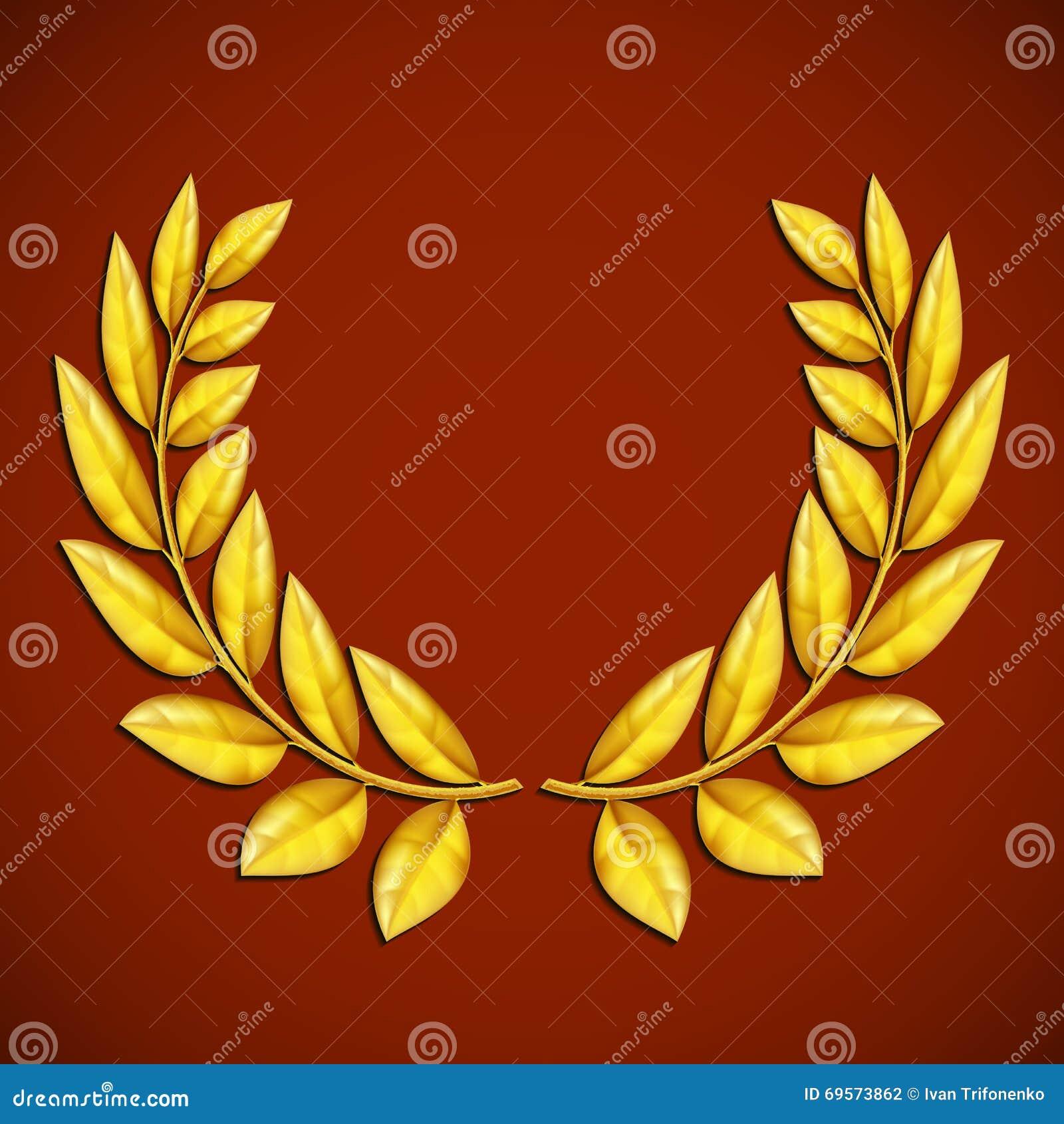 Golden Olive Wreath Symbol Of Victory Award Winner Stock Vect