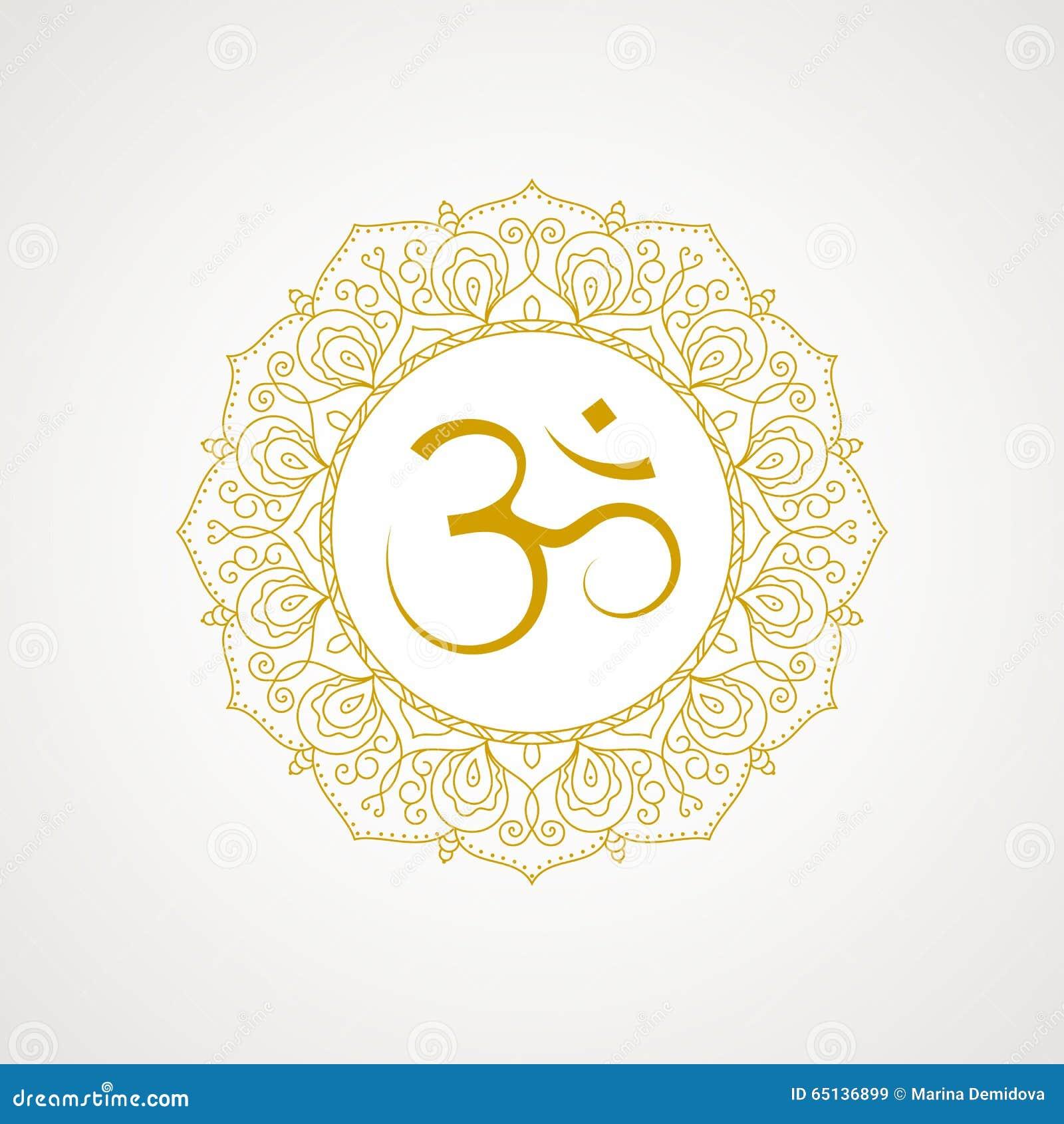 Golden Om Symbol In Vector Stock Vector Illustration Of Religion