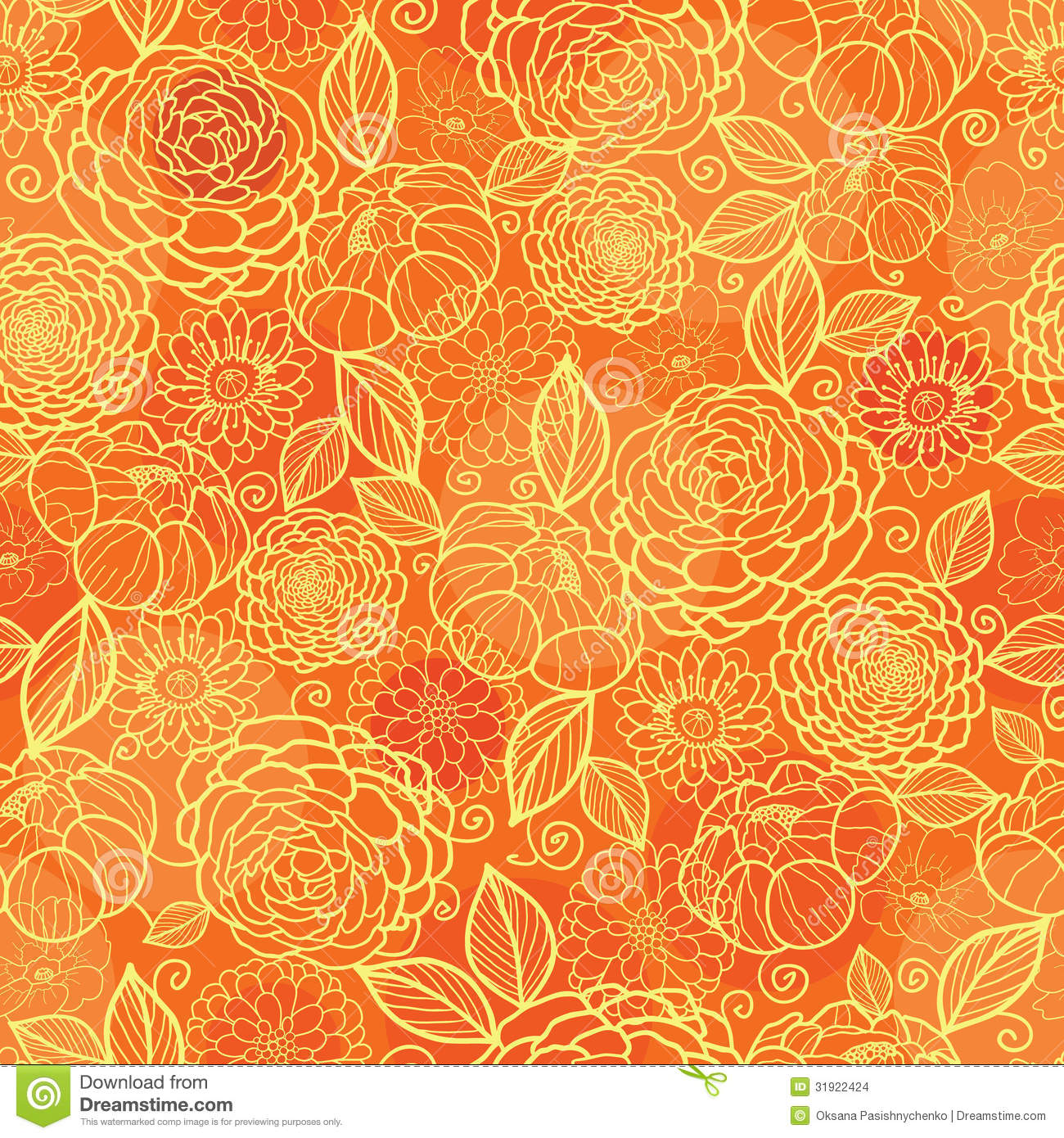 Golden Orange Floral Texture Seamless Pattern Stock Images