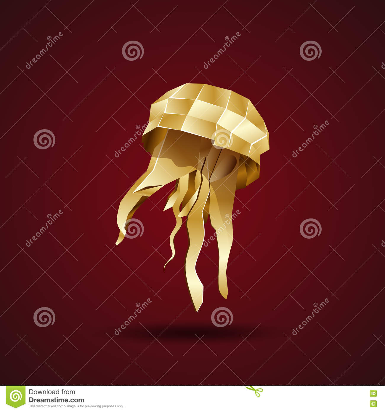 Golden origami jellyfish stock vector. Illustration of coral - 73621160