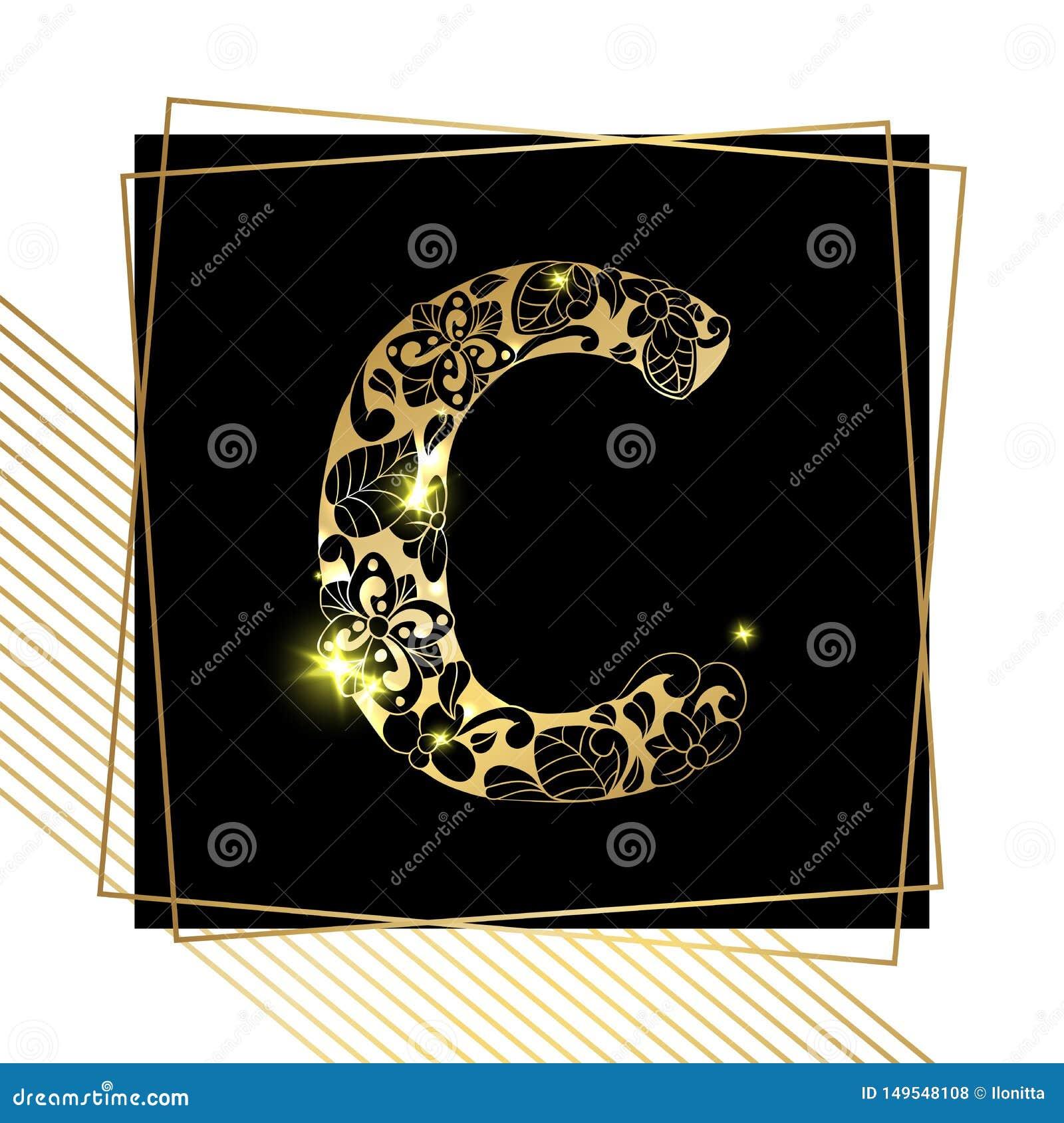 Golden Ornamental Alphabet Letter C Font Stock Vector
