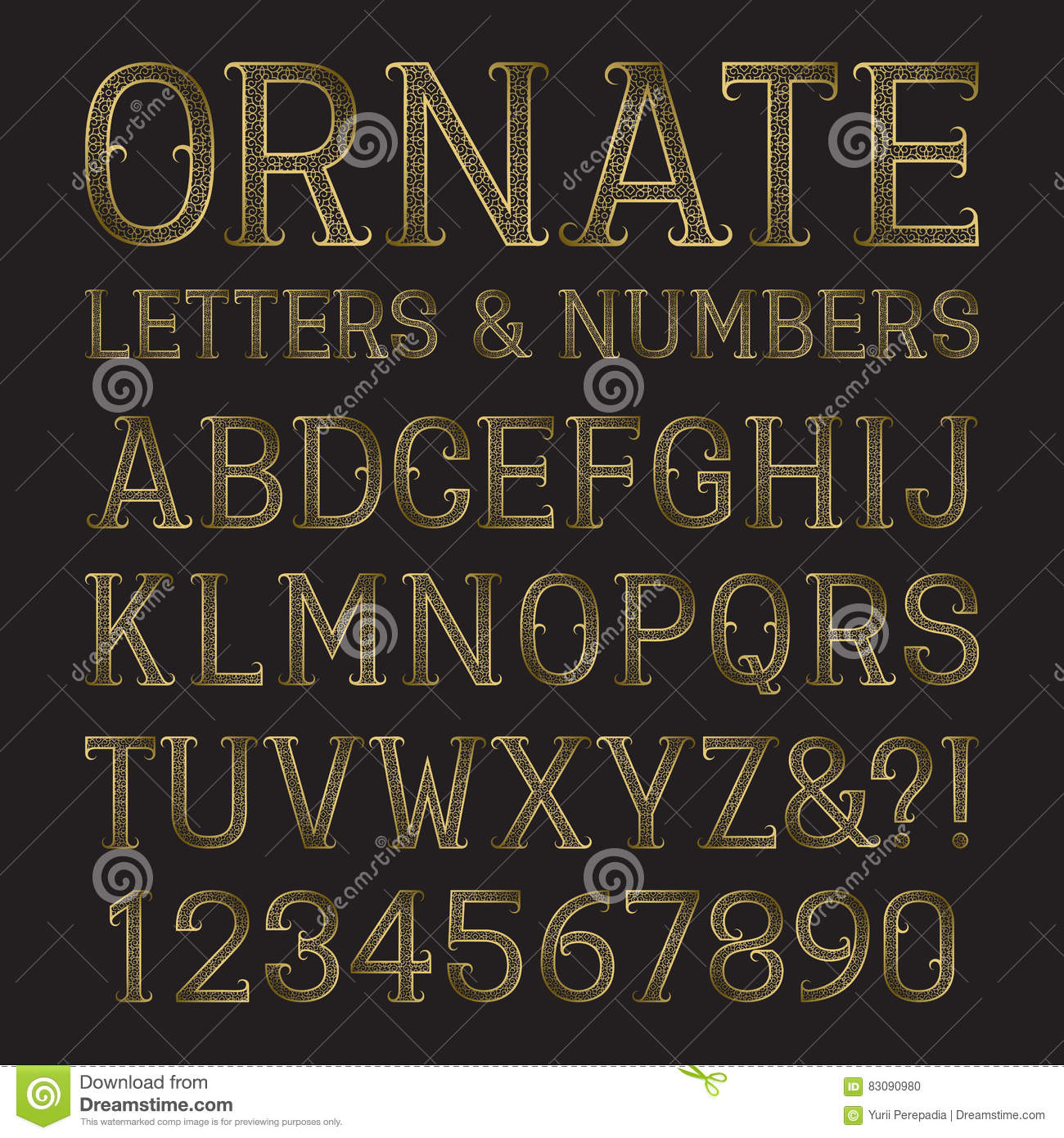 Golden ornate capital letters and numbers with tendrils. Decorative patterned vintage font. Isolated latin alphabet with figures.
