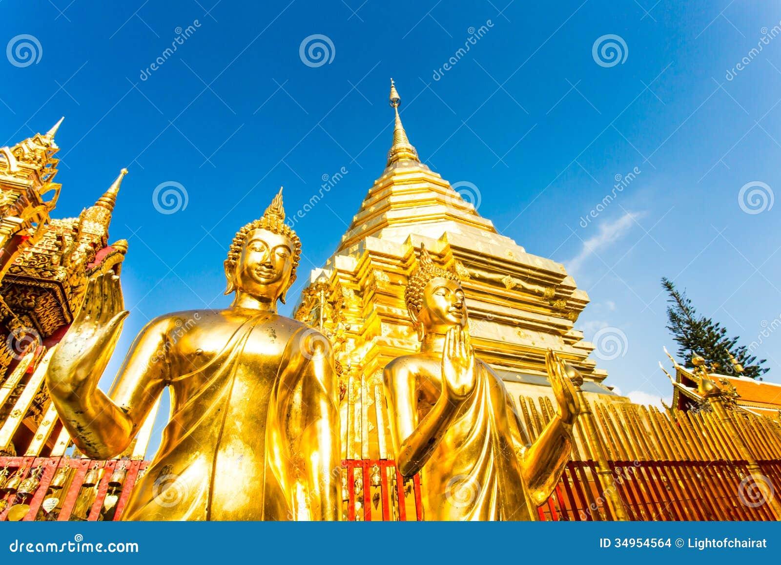 Golden Pagoda And Buddha Wat Phra That Doi Suthep ...