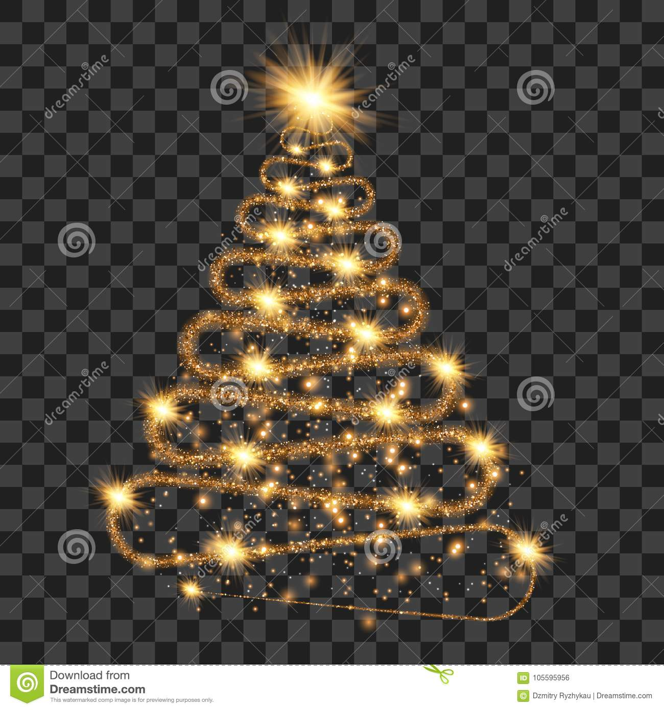 Golden particle wave in form of christmas tree