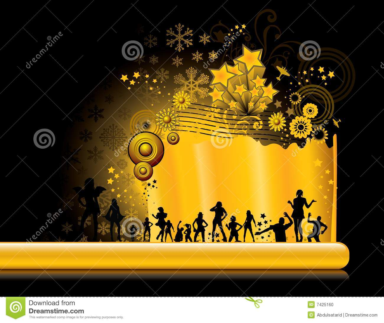 Golden Party Background Stock Vector. Illustration Of