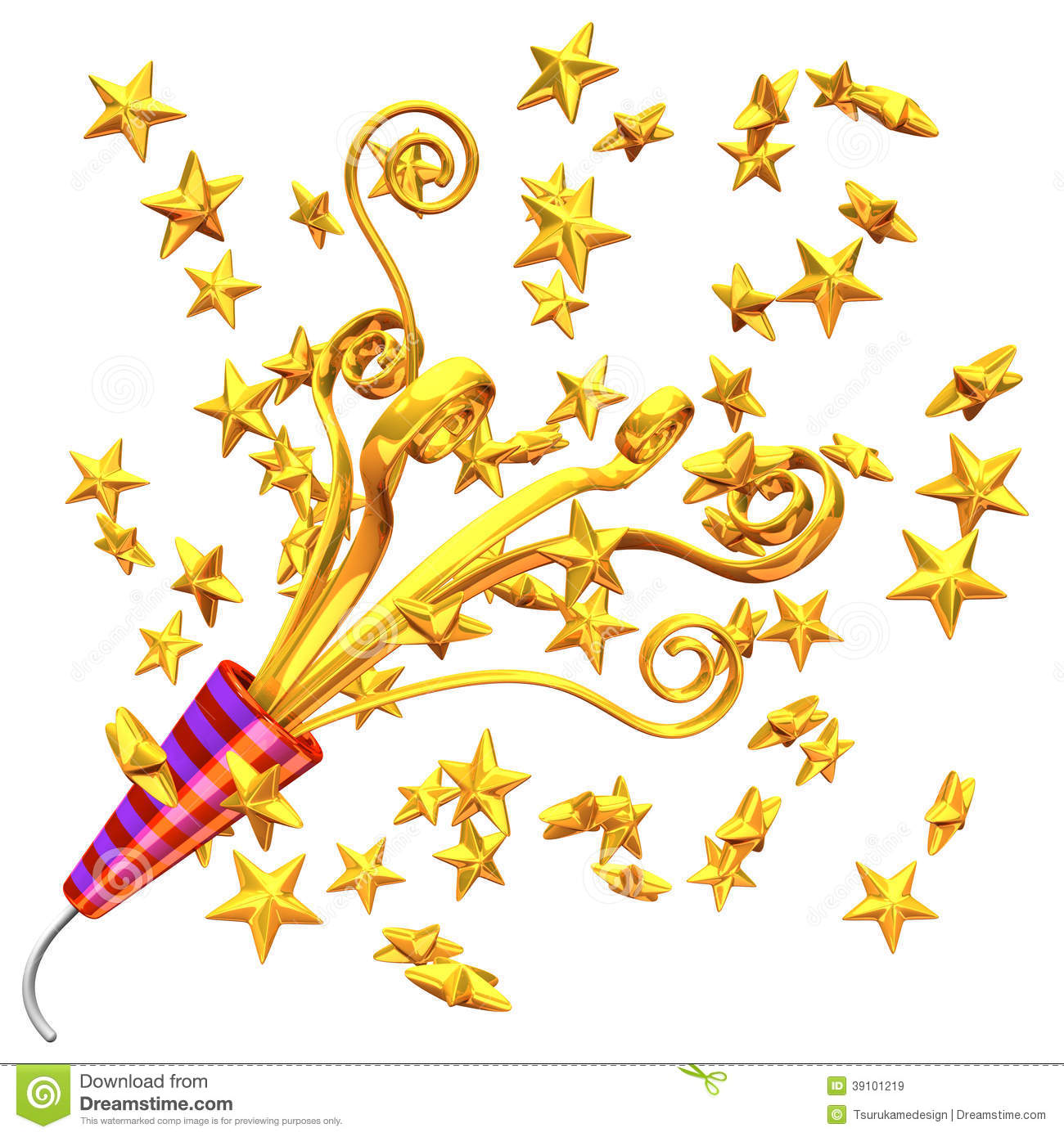 Golden party popper and some stars 3d render illustration isolated on