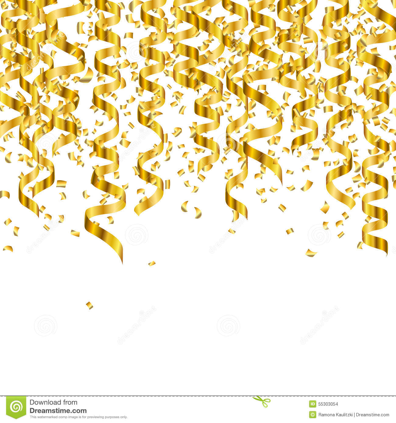 Golden Party Streamers Stock Illustration - Image: 55303054