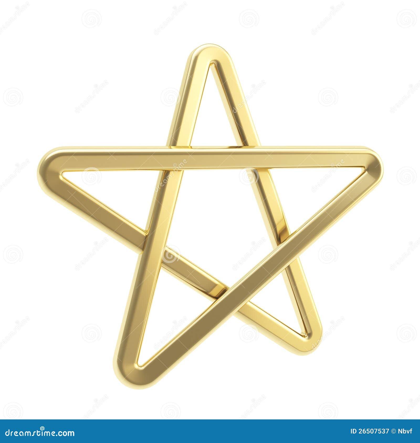 Golden Pentagonal Five Pointed Star Stock Illustration