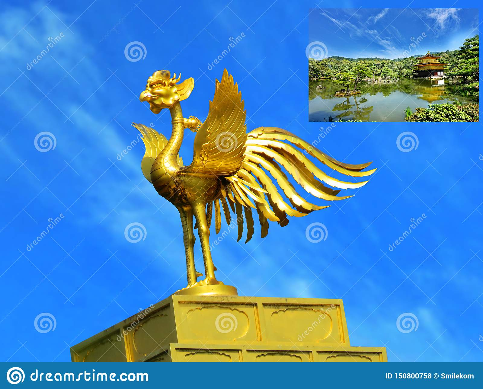 Golden phoenix of roof ornament of Kinkaku-ji Temple ,Kyoto,Japan