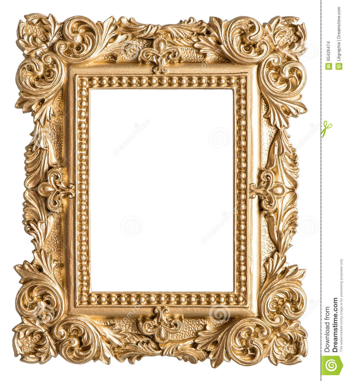 golden picture frame baroque style vintage art object stock photo image of blank white 65426474. Black Bedroom Furniture Sets. Home Design Ideas