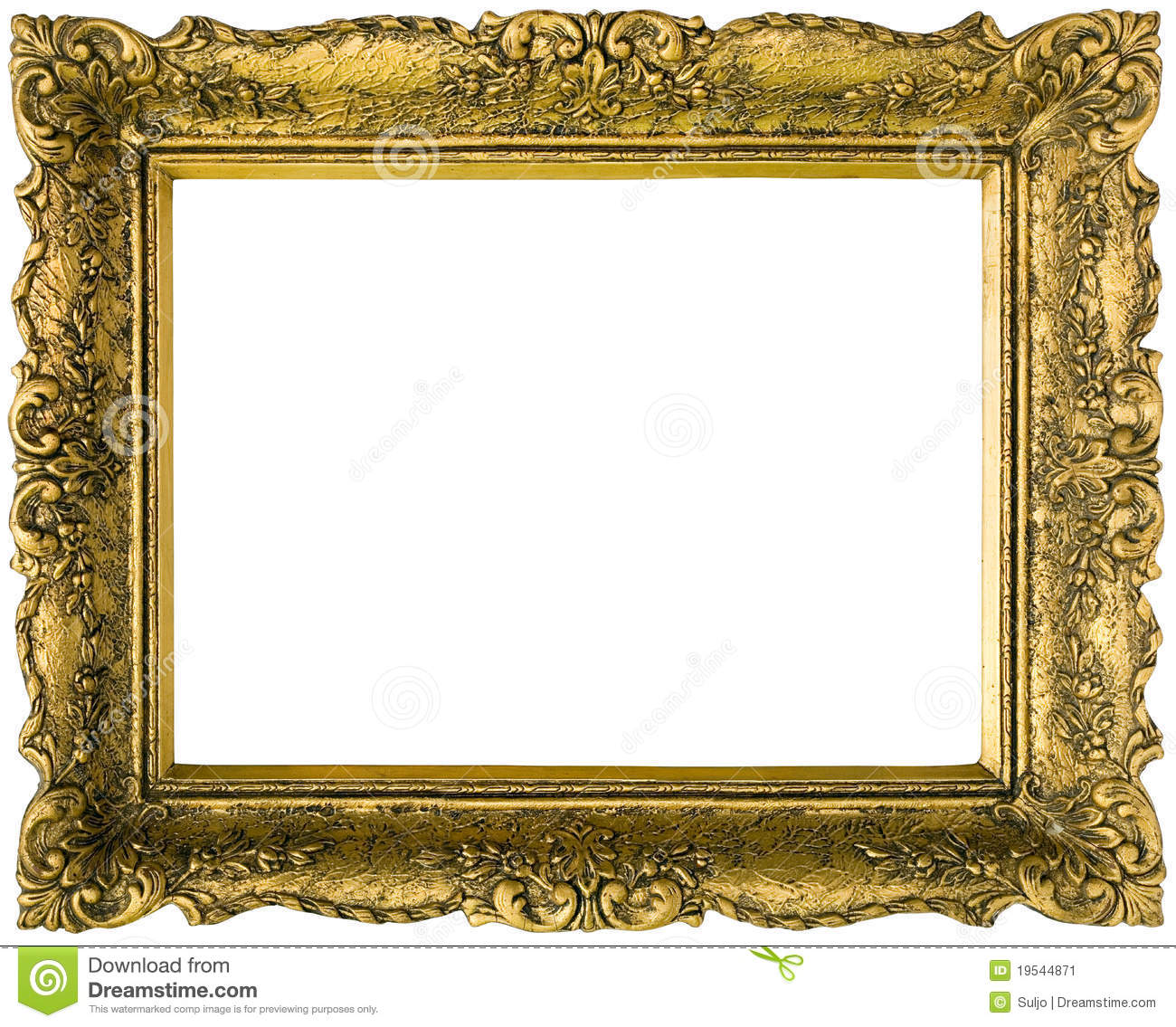 Golden Picture Frame Cutout Stock Image Image 19544871