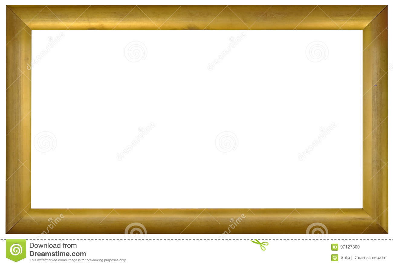 Golden Picture Frame Cutout Stock Photo - Image of path, golden ...