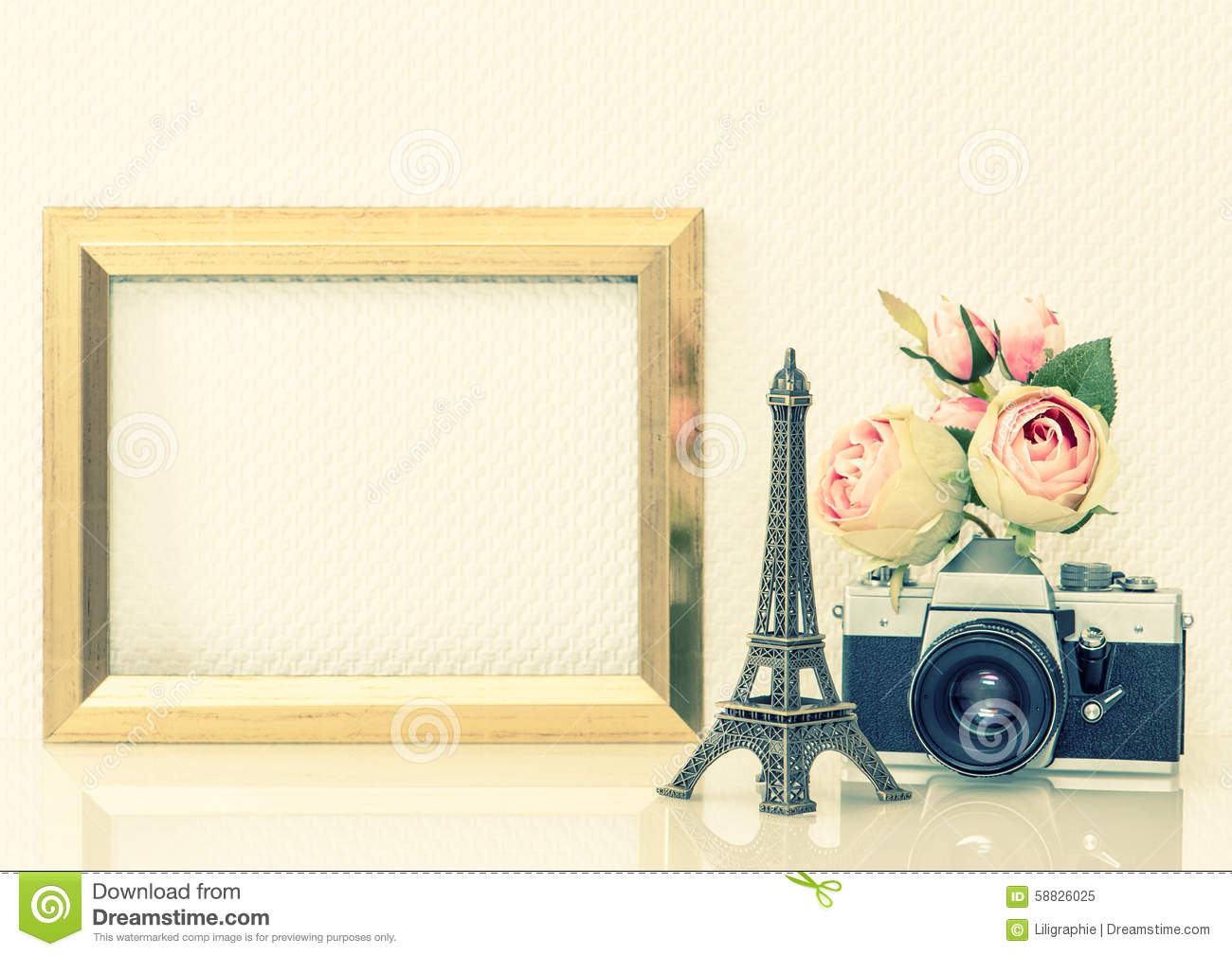 golden picture frame flowers and vintage camera nostalgic deco stock image image of banner. Black Bedroom Furniture Sets. Home Design Ideas
