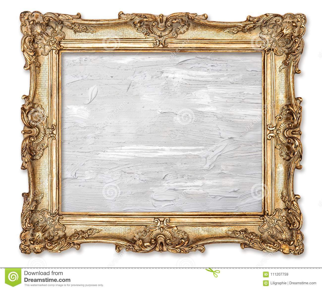 Golden picture frame oil painted canvas white background