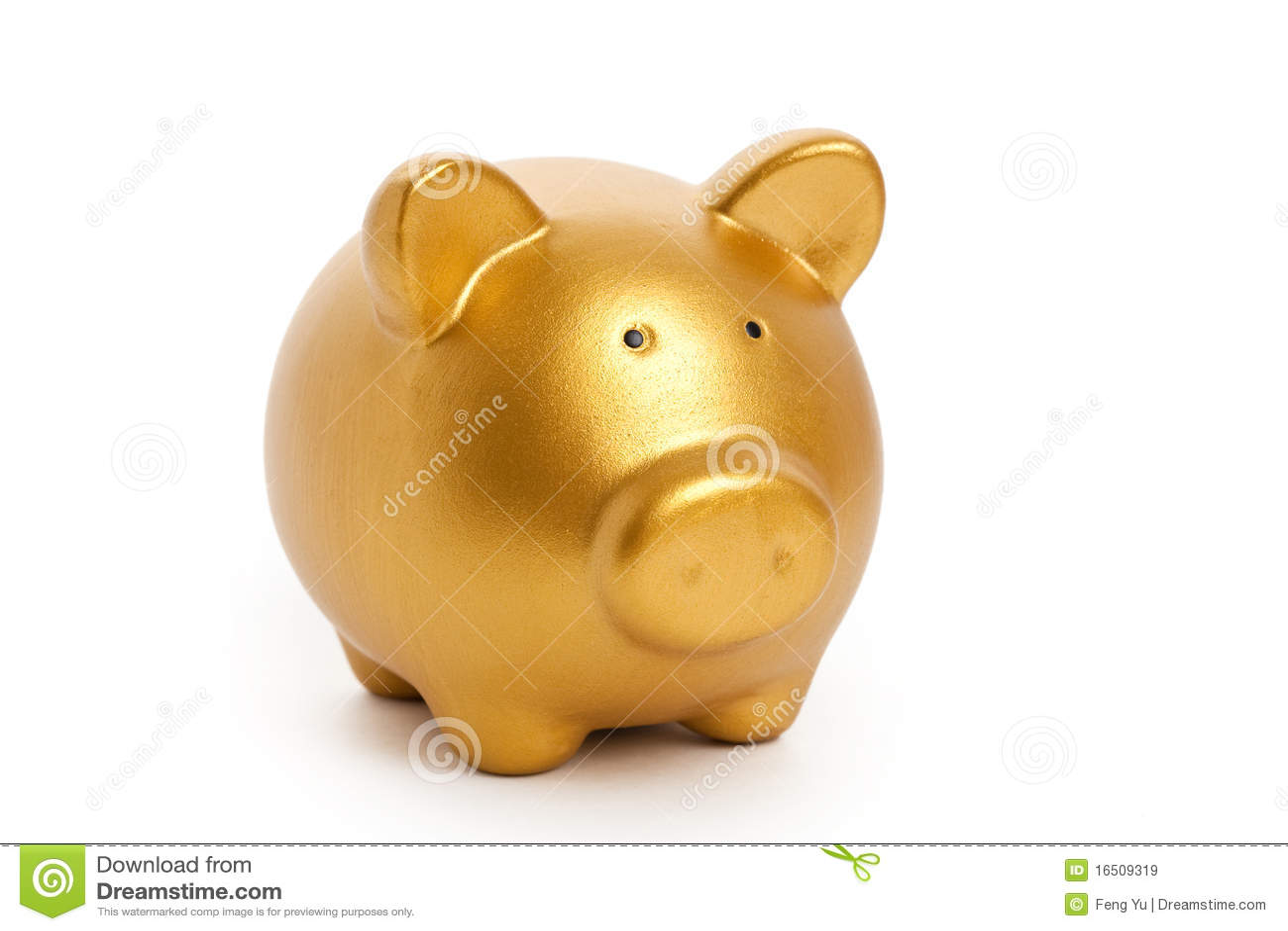 Golden Piggy Bank Stock Image. Image Of Background