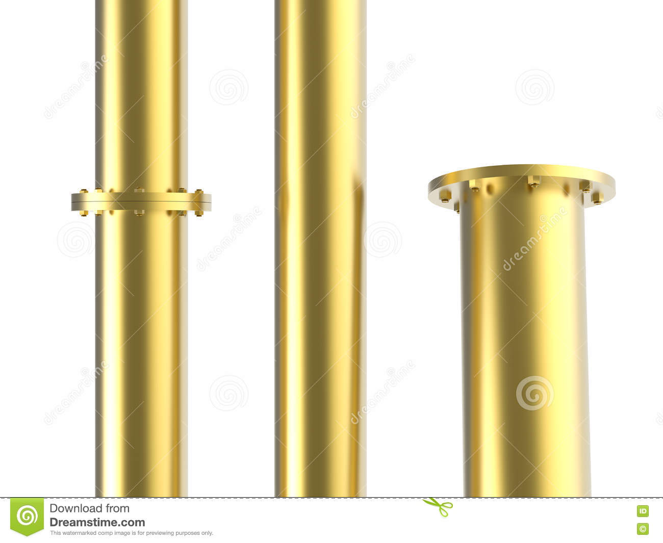 Golden Pipe With Joint Stock Illustration Image Of