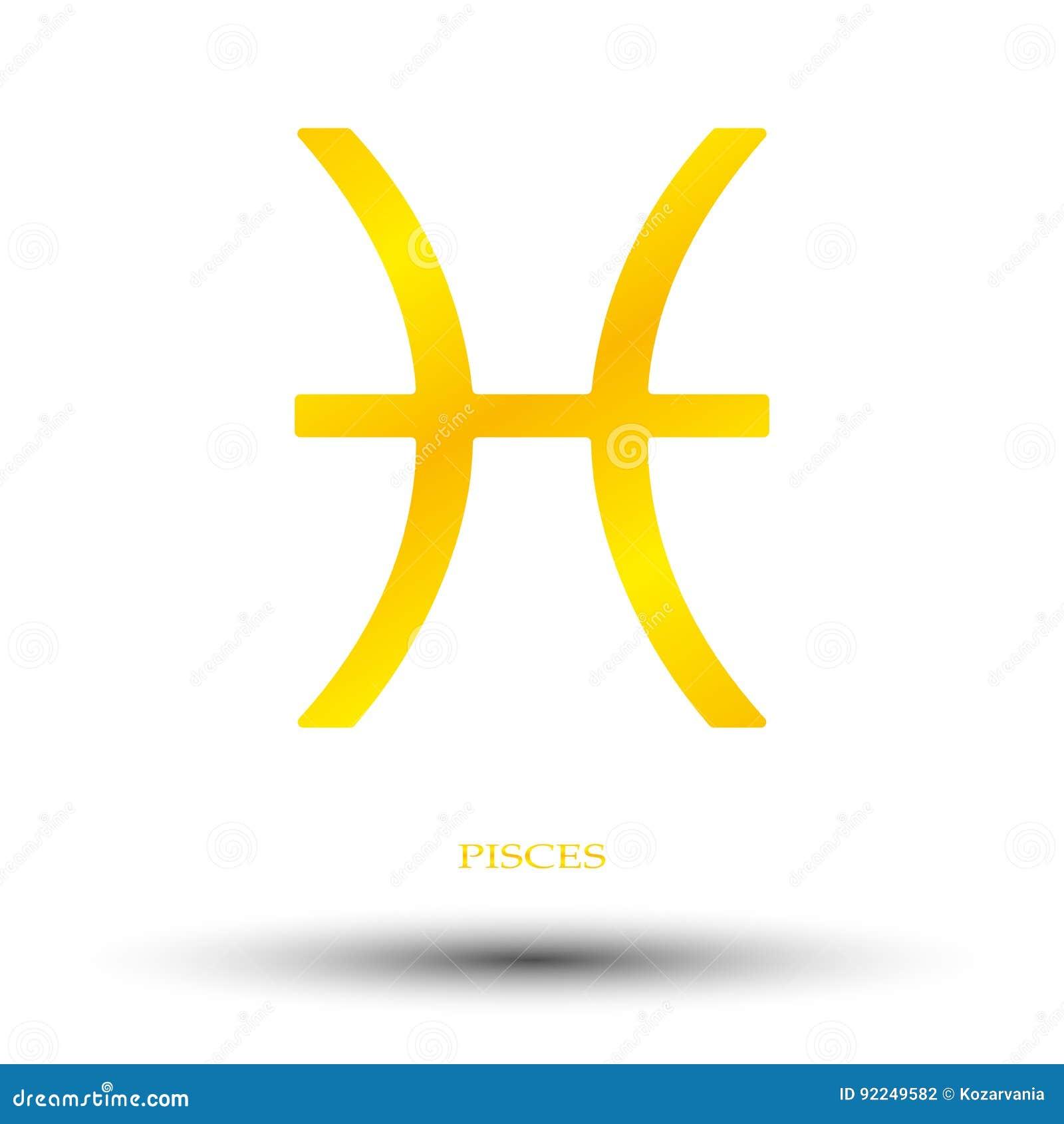 Golden Pisces Sign Stock Vector Illustration Of Light 92249582