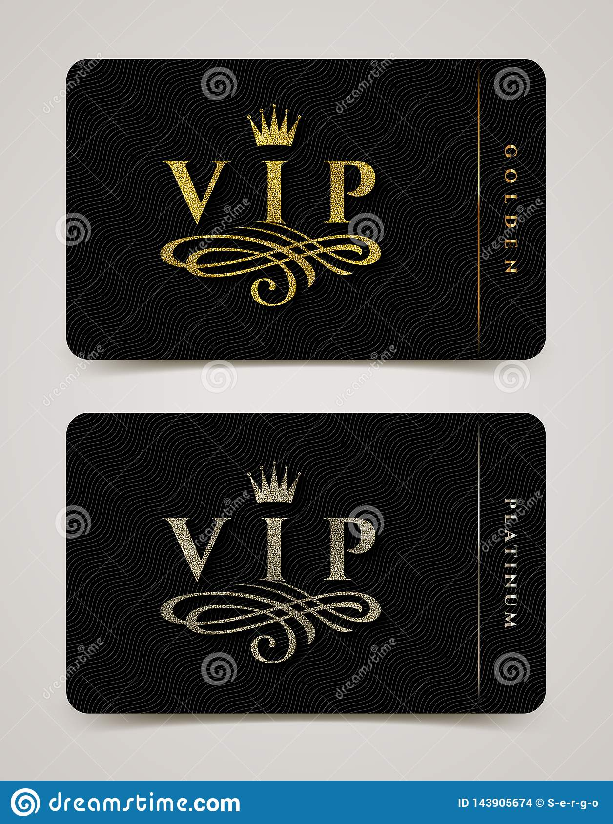 Golden and platinum VIP card template - type design with crown, and flourishes element on a black  background.