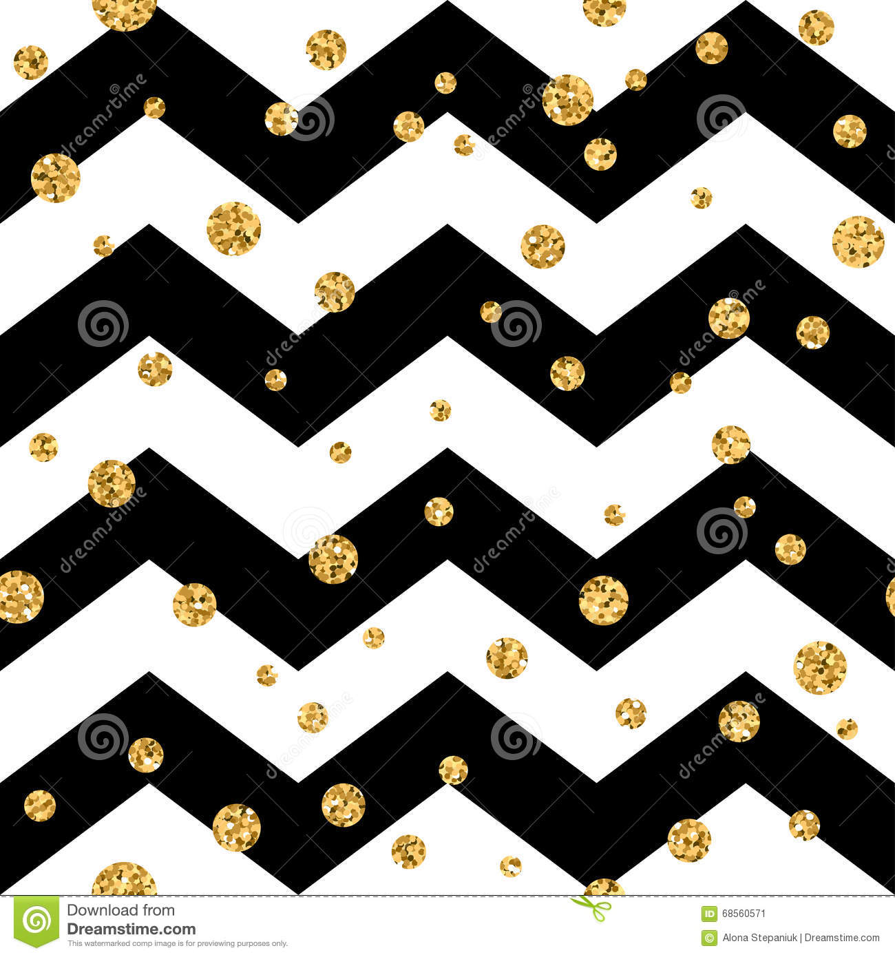 golden polka dot seamless pattern gold confetti glitter zigzag black 1 stock vector. Black Bedroom Furniture Sets. Home Design Ideas