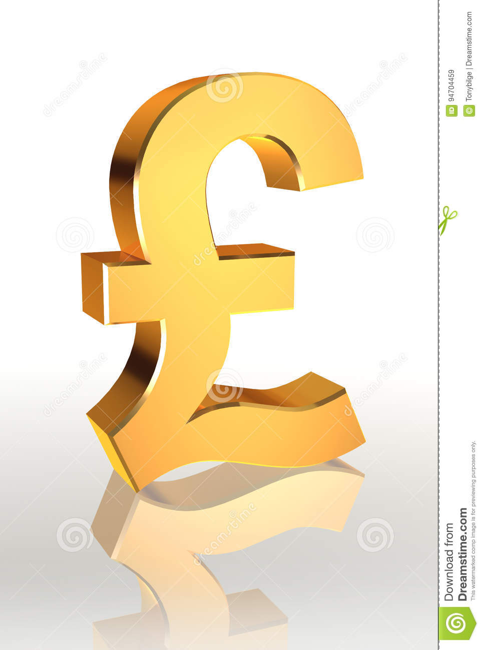 Golden Pound Currency Symbol Stock Illustration Illustration Of