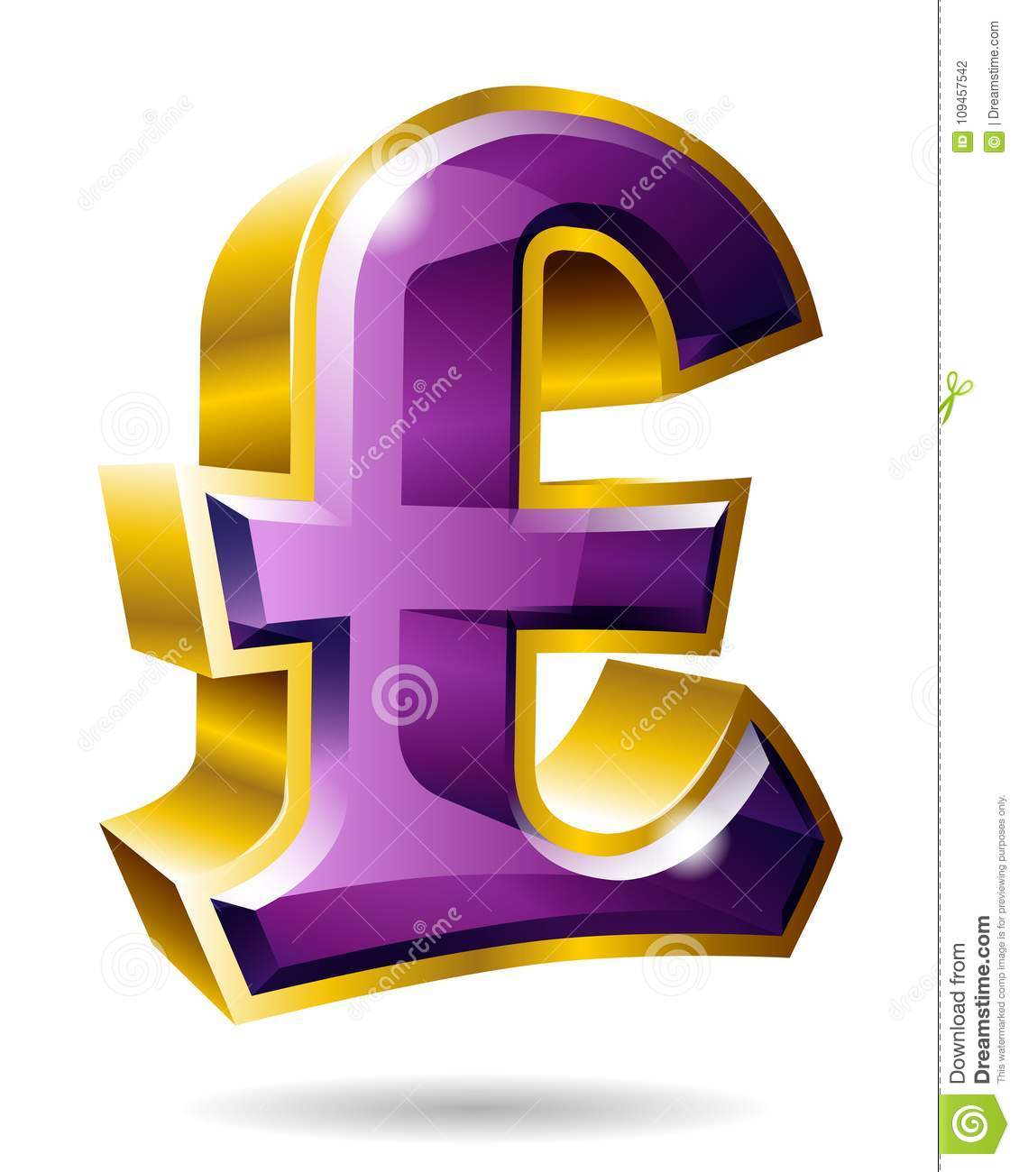Golden Pound Sterling Symbol In 3d Style Isolated On White Backg