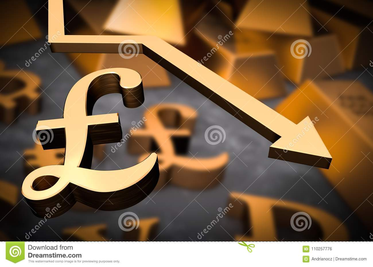 Golden Pound Symbol And Golden Arrow Down Stock Illustration