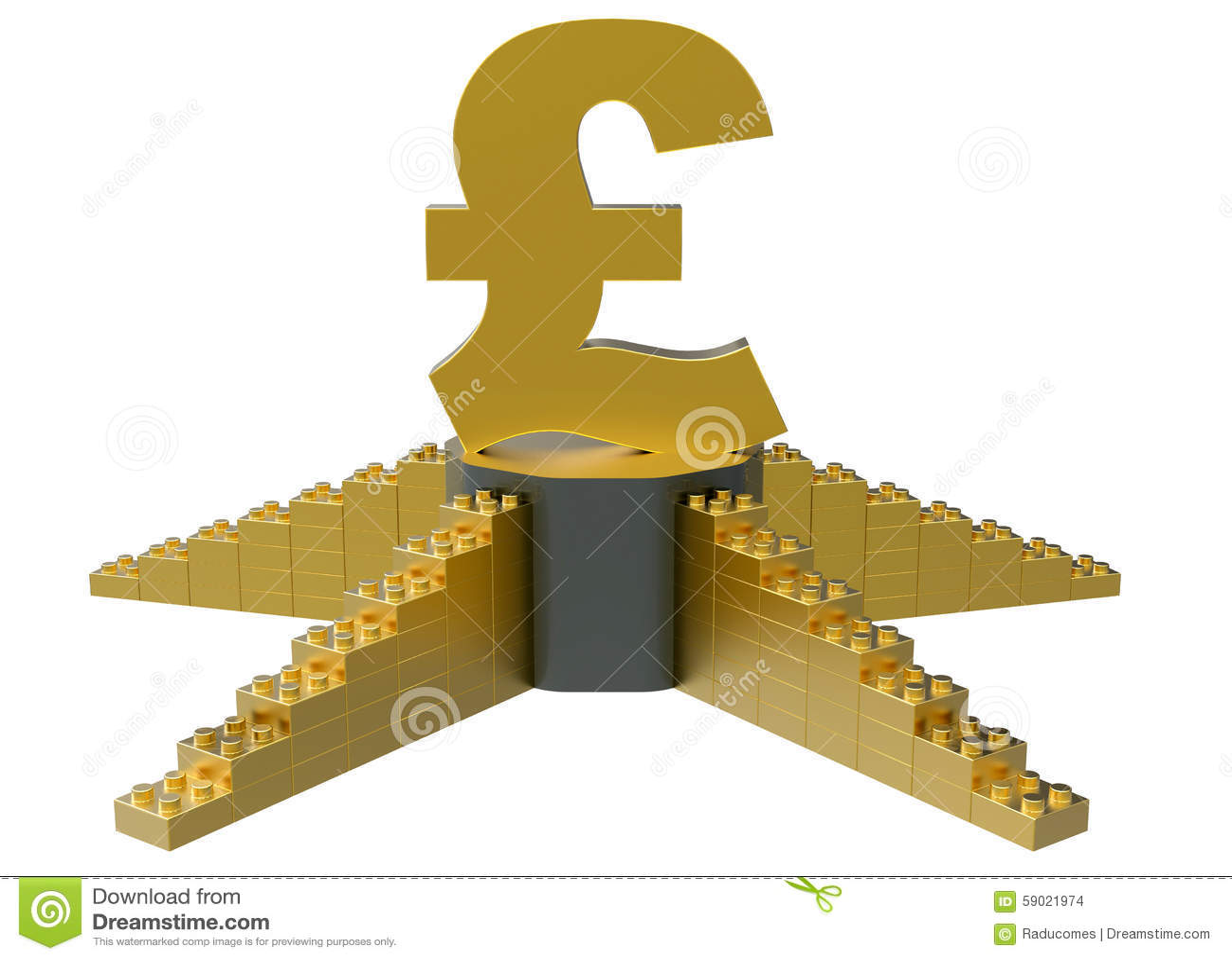 Golden Pound Symbol On A Podium Stock Illustration Illustration Of