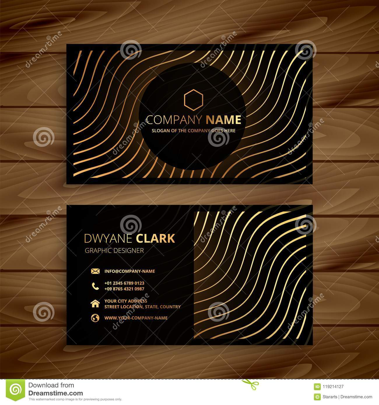 Golden premium business card template stock vector illustration of download golden premium business card template stock vector illustration of layout presentation 119214127 wajeb Gallery