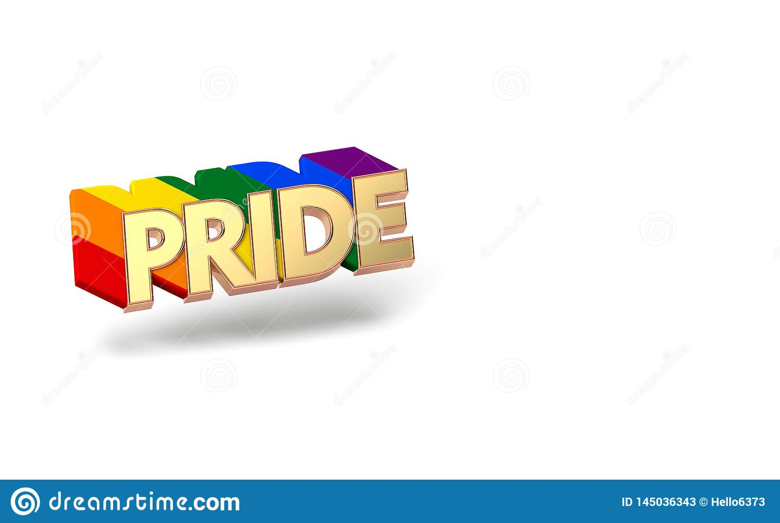 Golden PRIDE word with rainbow outline. LGBTQ pride month symbol concept. Isolated on white background with copy space. 3D