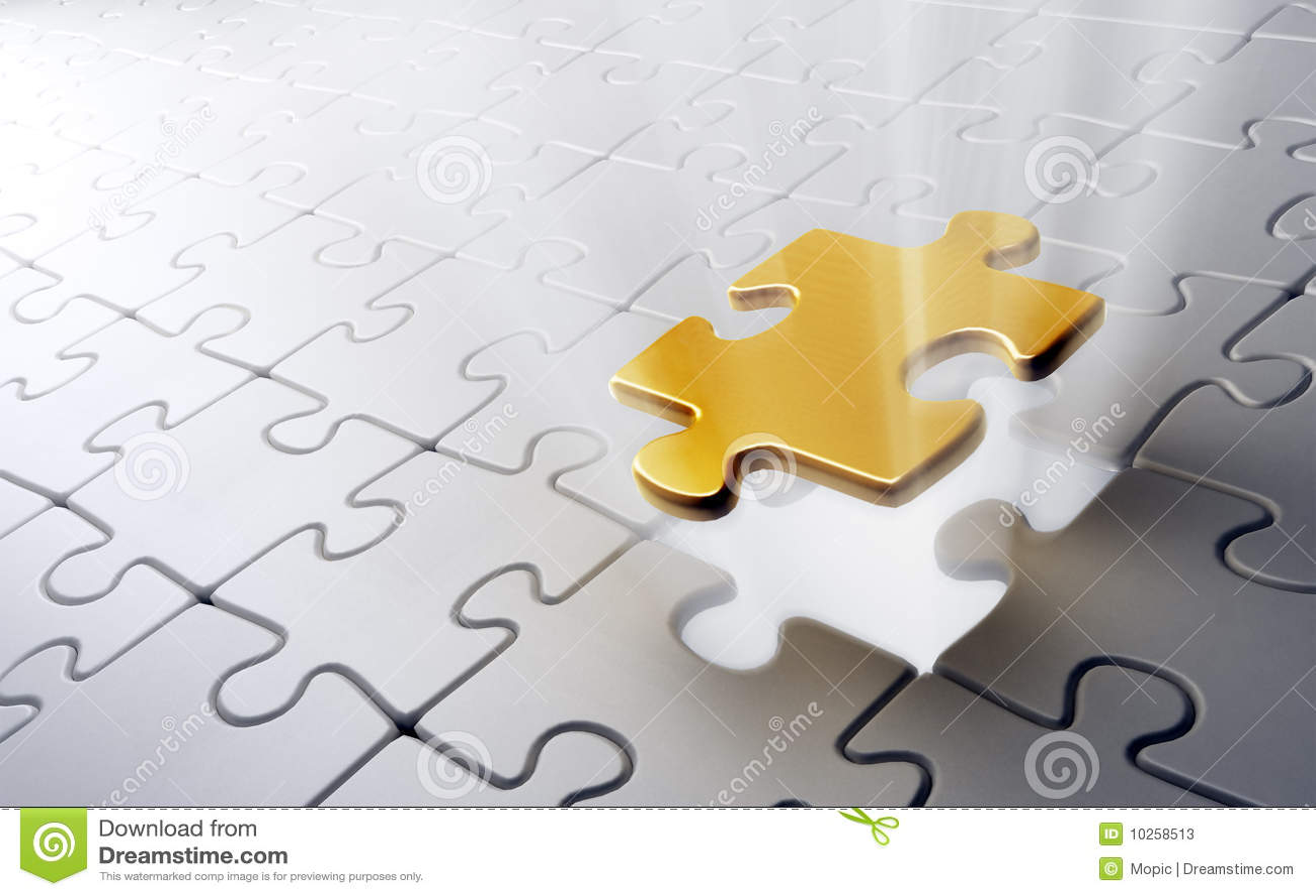 Golden Puzzle Piece Stock Photos - Image: 10258513