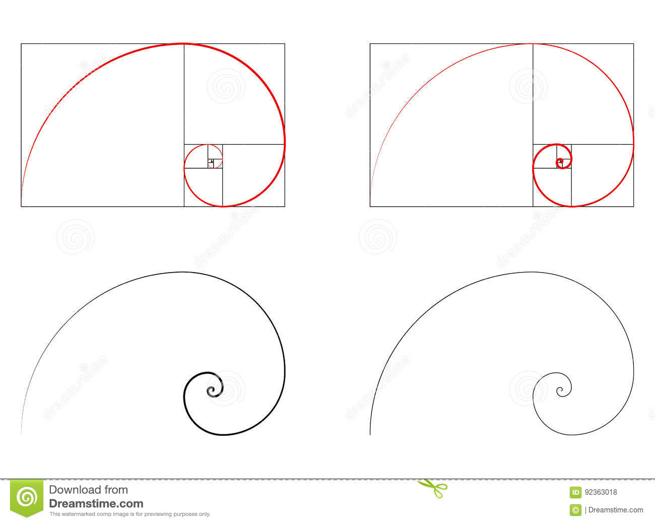 Golden ratio spiral section set