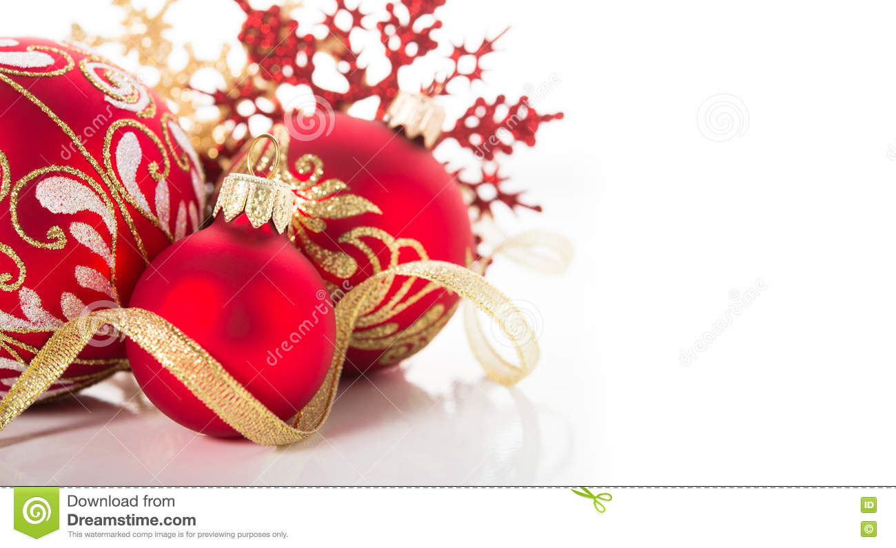 Gold and red ornaments - Golden And Red Christmas Ornaments On White Background Merry Christmas Card