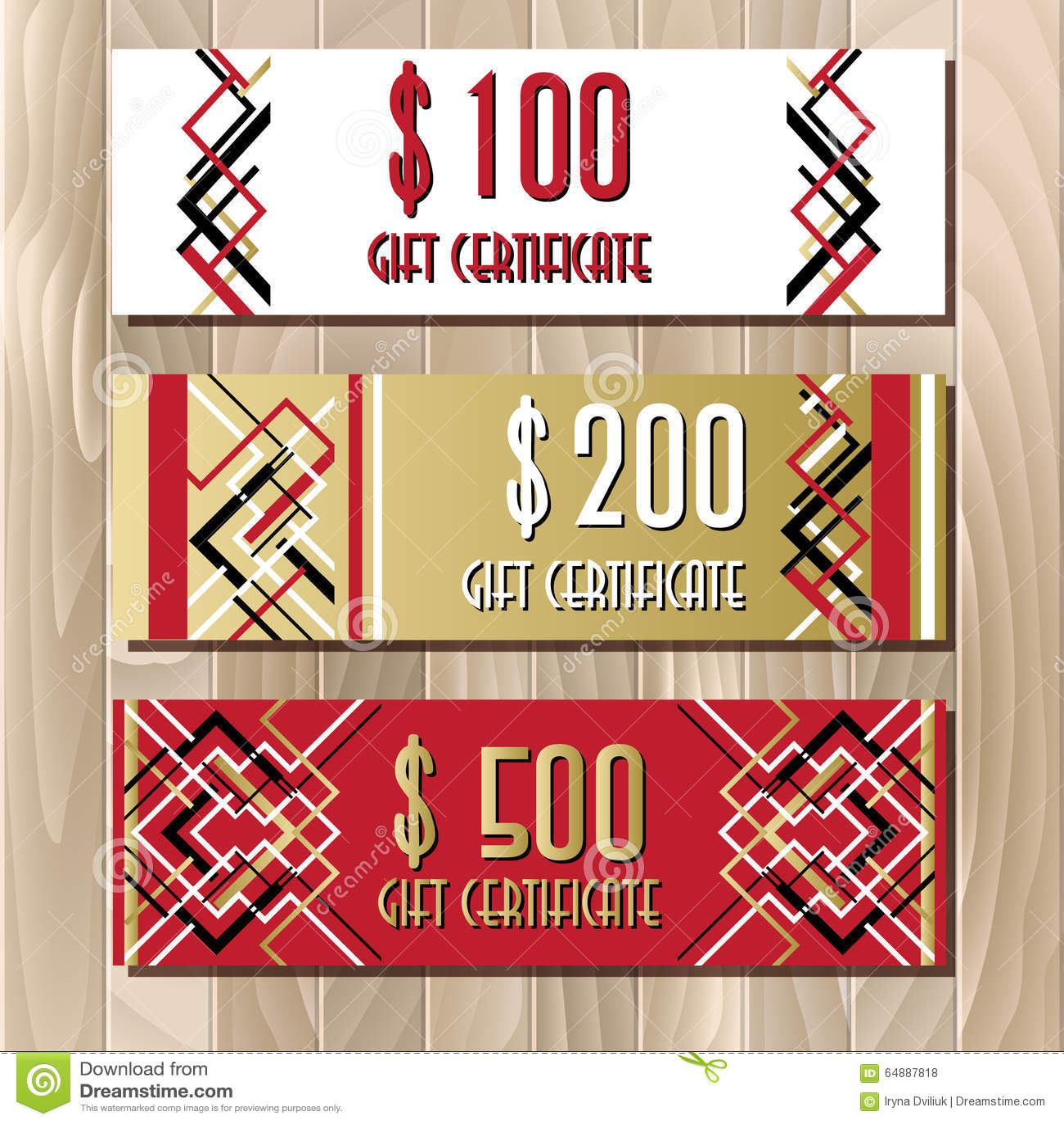golden red gift certificate template in art deco outline style golden red gift certificate template in art deco outline style