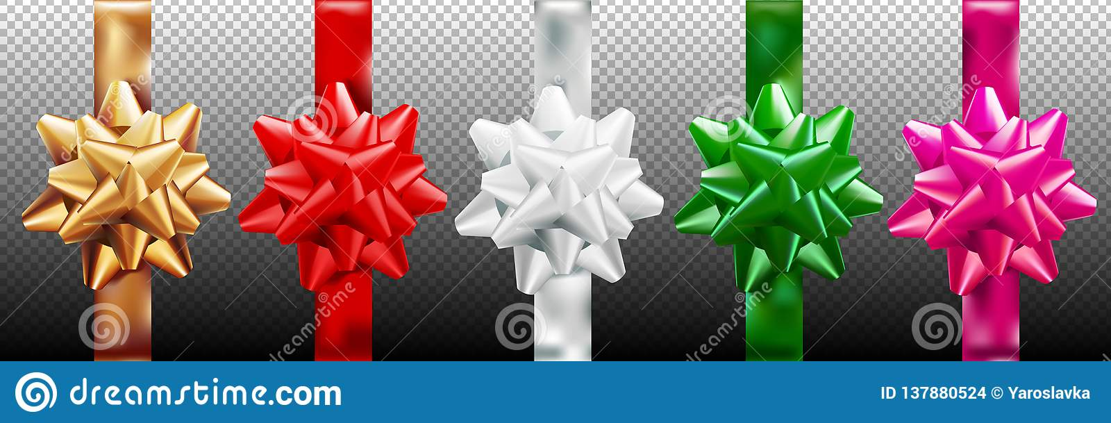 Golden, red, silver, green, pink gift bow set vertical ribbon. Isolated on transparent background. Vector illustration. Christmas