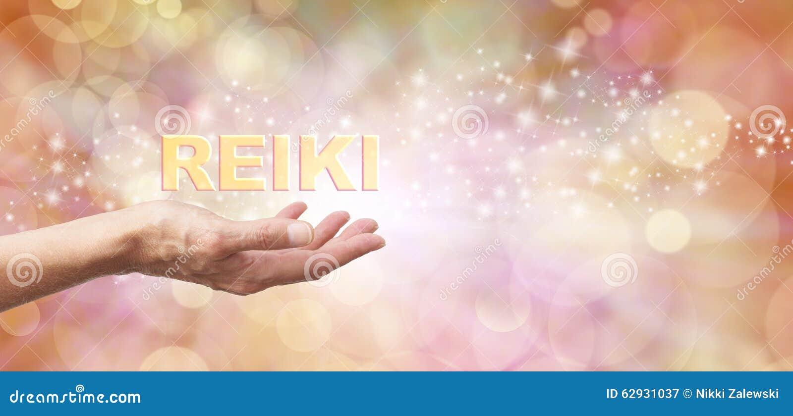 Golden Reiki Healing Energy Share Stock Image