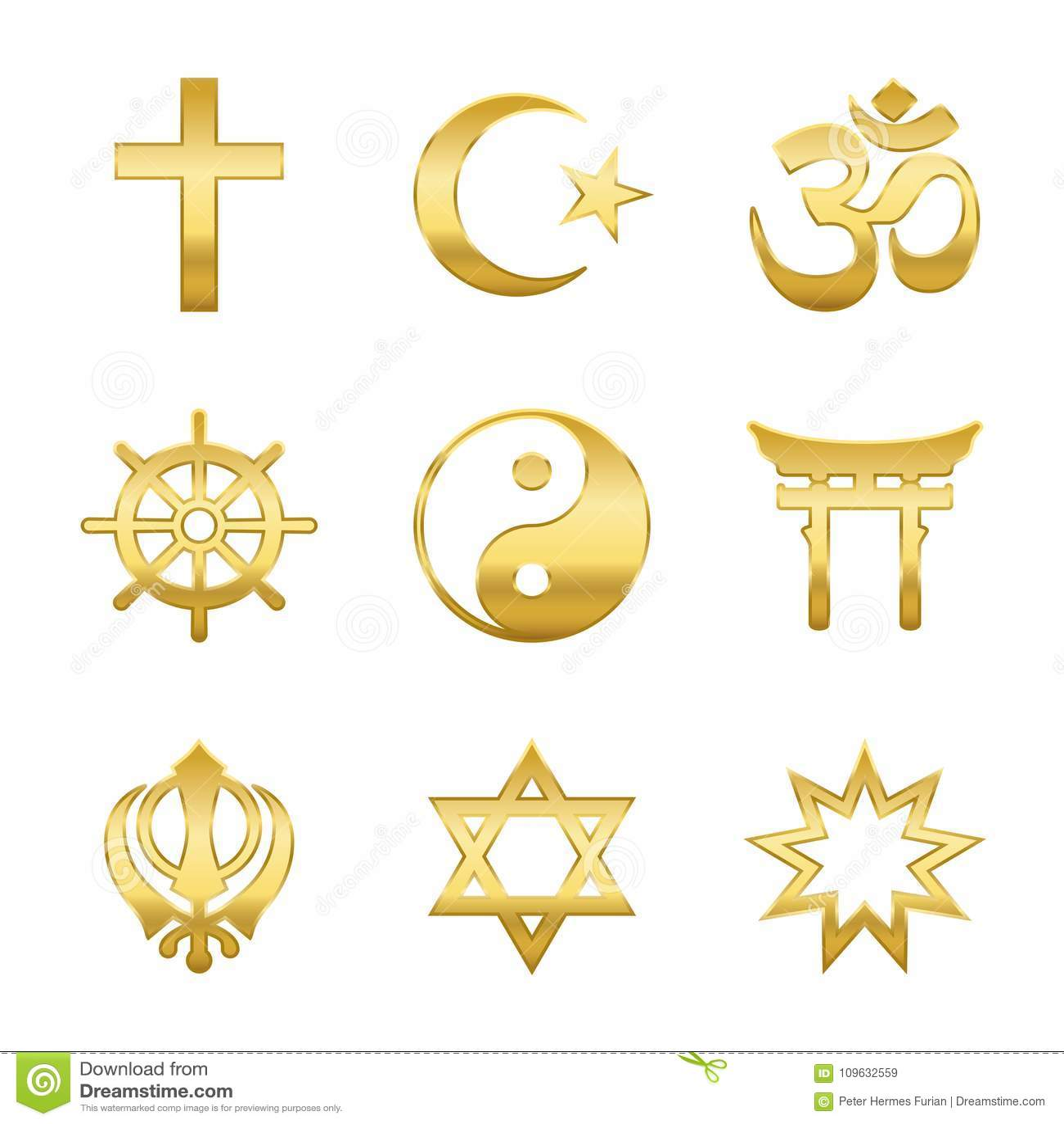 Golden Religious Symbols Stock Vector Illustration Of Pictogram