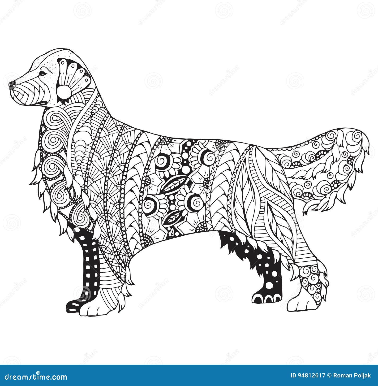 Golden Retriever Dog Zentangle Stylized Vector Illustration F Stock Vector