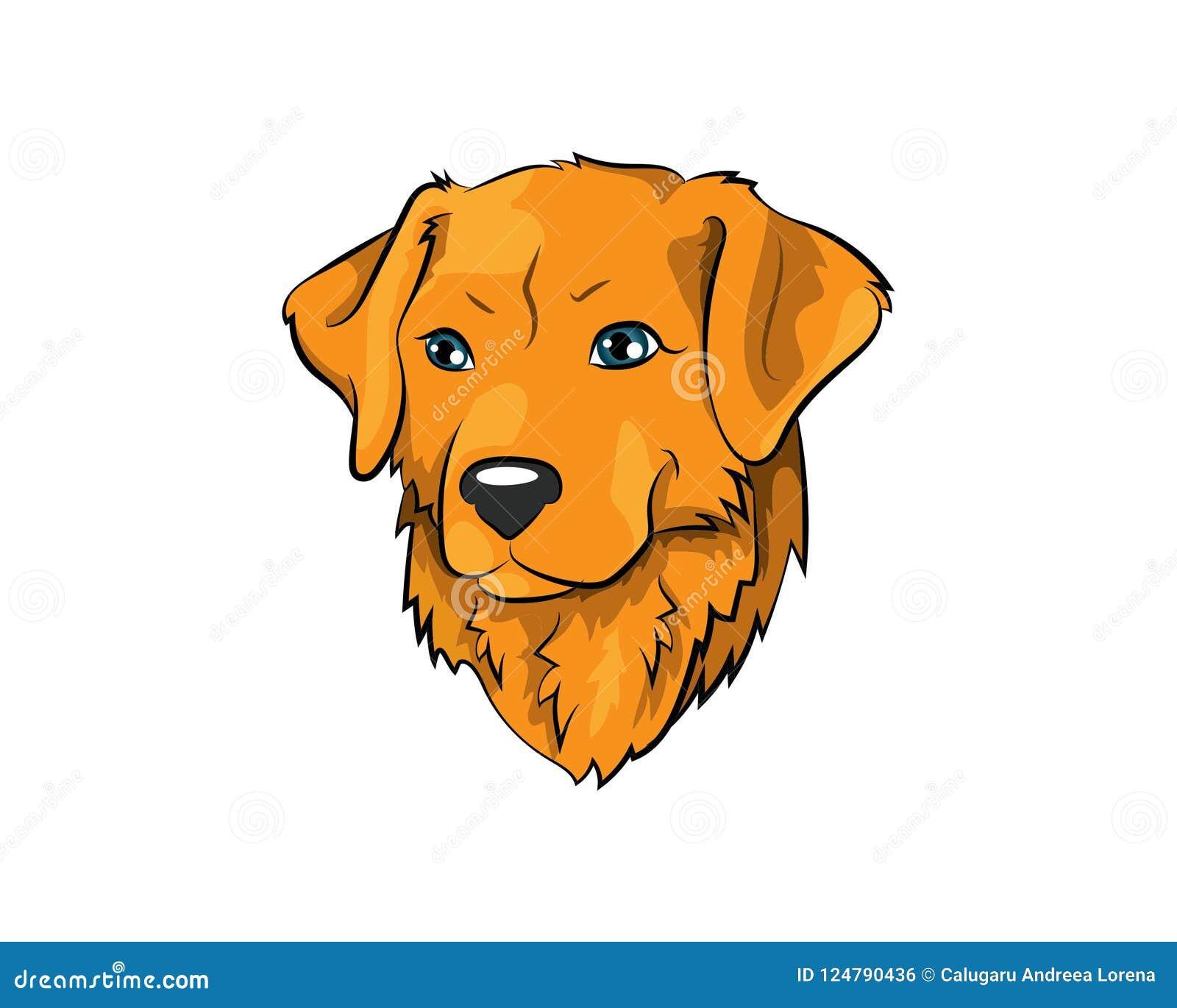 Golden Retriever Vector Icon Illustration Stock Vector