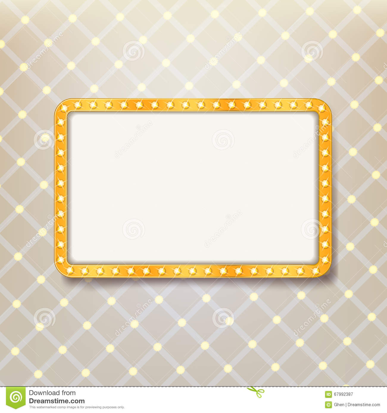 Golden Retro Frame With Light Bulbs On Royal Pattern Background ...