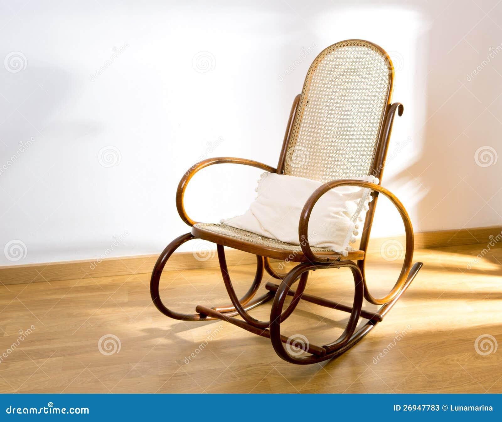 Golden Retro Rocker Wooden Swing Chair Stock Photos