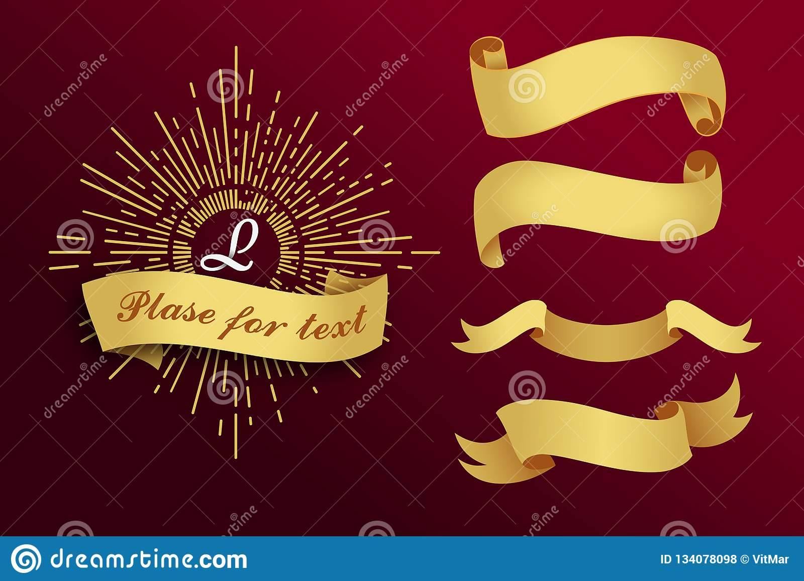 Golden ribbons on a red background. Vector illustration