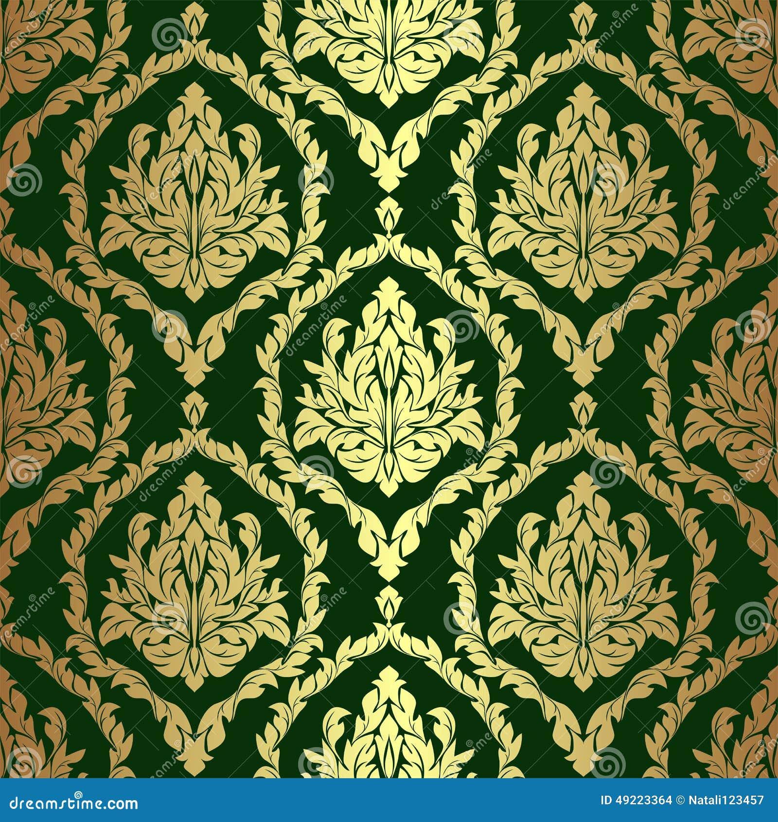 golden rich floral damask wallpaper on green stock vector